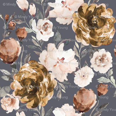 IBD Autumn Cocao Cream Peonies Blue B