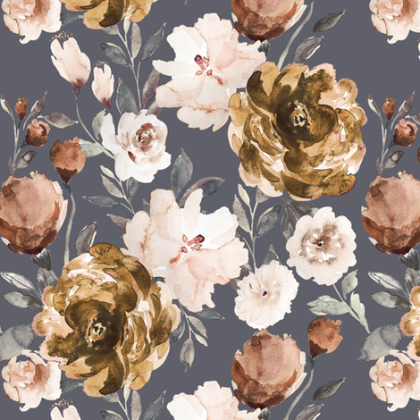 IBD Autumn Cocao Cream Peonies Blue B fabric by indybloomdesign on Spoonflower - custom fabric