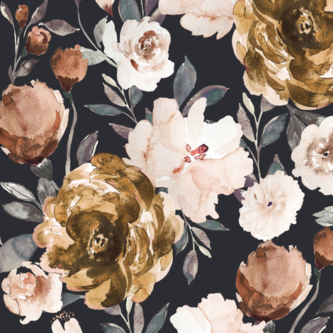 IBD Autumn Cocao Cream Peonies C fabric by indybloomdesign on Spoonflower - custom fabric
