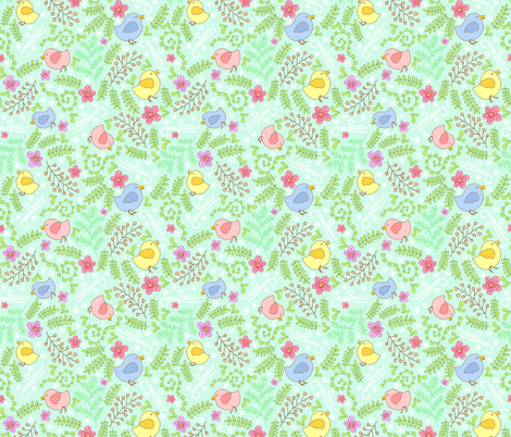 First Spring Chicks fabric by denise_ortakales on Spoonflower - custom fabric