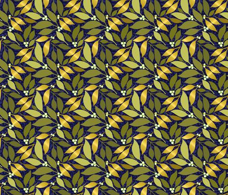 Navy Leaves & White Berries fabric by denise_ortakales on Spoonflower - custom fabric