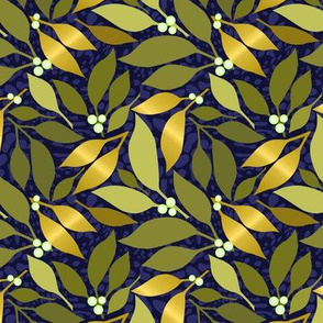 Navy Leaves & White Berries