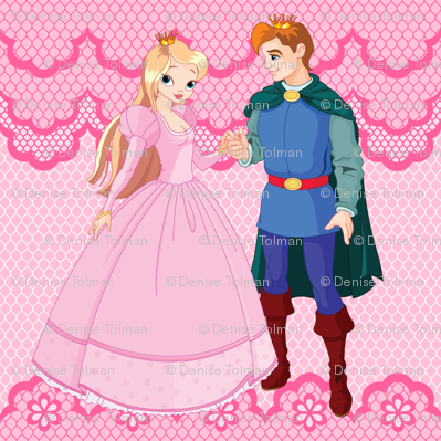 Princess & Prince on Pink Lace