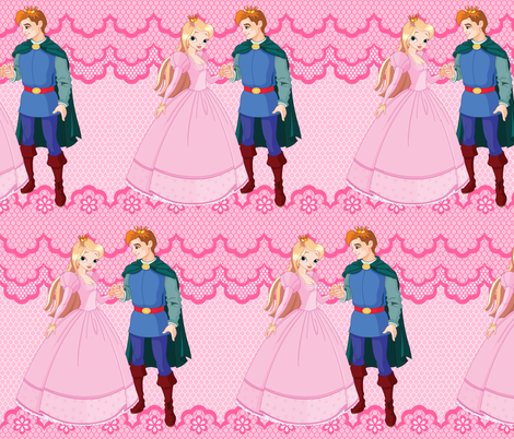 Princess & Prince on Pink Lace fabric by fabric_is_my_name on Spoonflower - custom fabric
