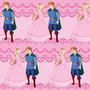 Princess & Prince on Pink Lace