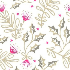 Festive Pohutukawa - Pink Gold White