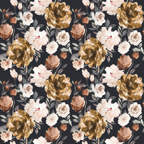 IBD Autumn cocao cream peonies A fabric by indybloomdesign on Spoonflower - custom fabric