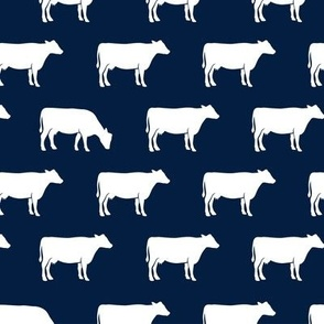 cows (white) on navy - farm life C18BS