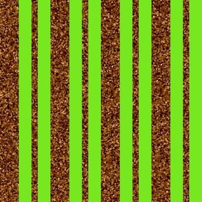 CD1 - Sparkly Copper Stripes on Lime Green