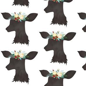 """Deer Head Christmas Floral 8"""""""
