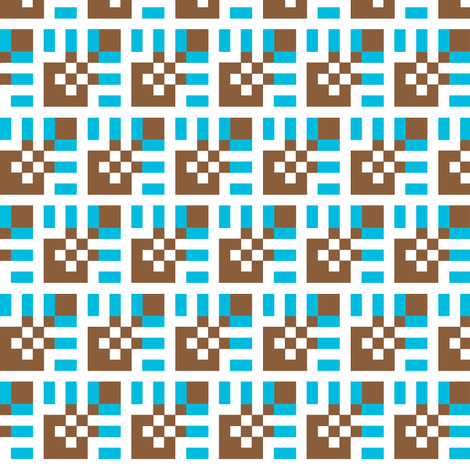 Lola ChocolateSkyBlue Small fabric by patternmutation on Spoonflower - custom fabric