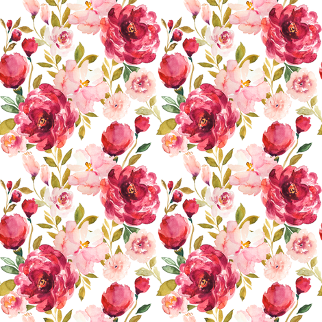 IBD Summers eve peonies A fabric by indybloomdesign on Spoonflower - custom fabric