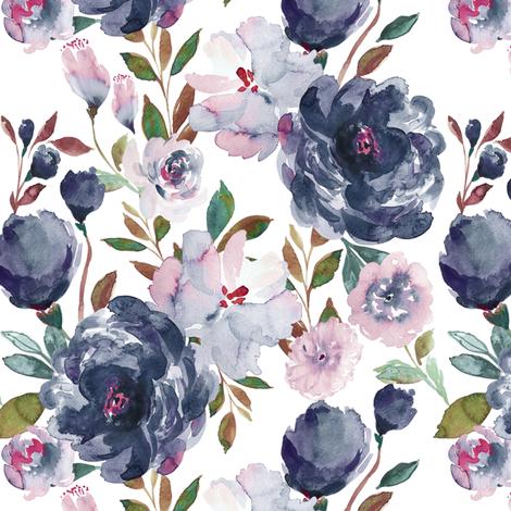 IBD midnight peonies B fabric by indybloomdesign on Spoonflower - custom fabric