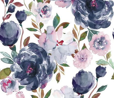 IBD midnight peonies C fabric by indybloomdesign on Spoonflower - custom fabric