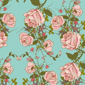 Pink Tea Rose Vines On Sky Blue Background