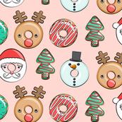 Christmas donuts - Santa, Christmas tree, reindeer - pink