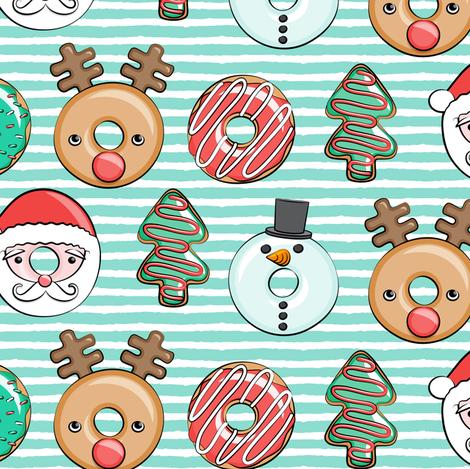 Christmas donuts - Santa, Christmas tree, reindeer - dark aqua stripes fabric by littlearrowdesign on Spoonflower - custom fabric