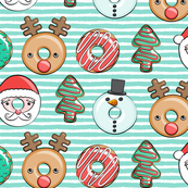 Christmas donuts - Santa, Christmas tree, reindeer - dark aqua stripes