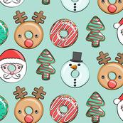 Christmas donuts - Santa, Christmas tree, reindeer - aqua