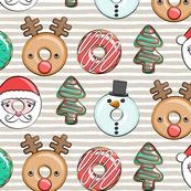 Christmas donuts - Santa, Christmas tree, reindeer - beige stripes