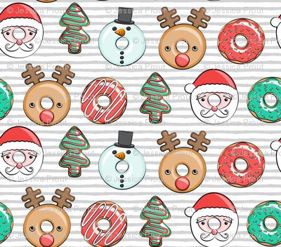 Christmas donuts - Santa, Christmas tree, reindeer - grey stripes