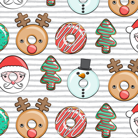 Christmas donuts - Santa, Christmas tree, reindeer - grey stripes fabric by littlearrowdesign on Spoonflower - custom fabric
