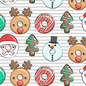 Christmas donuts - Santa, Christmas tree, reindeer - grey stripes