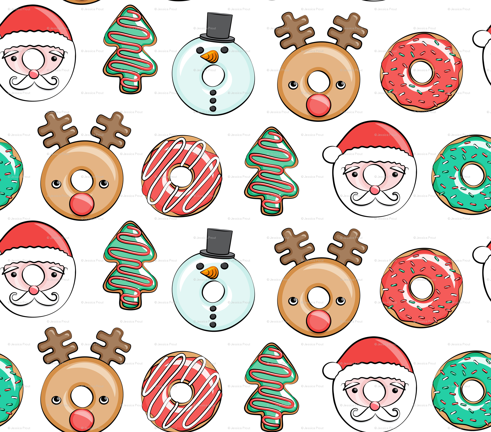 Christmas donuts - Santa, Christmas tree, reindeer - white wallpaper ...