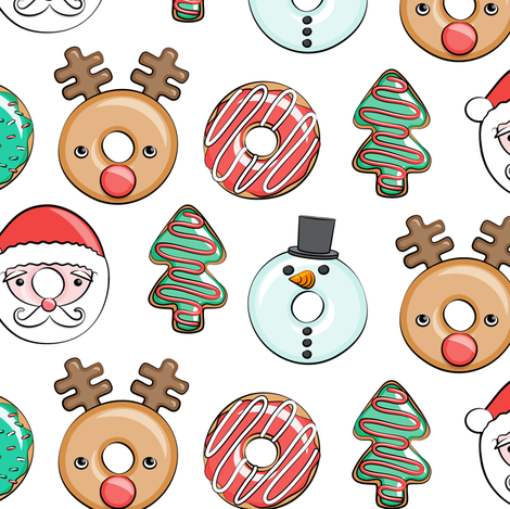 Christmas donuts - Santa, Christmas tree, reindeer - white fabric by littlearrowdesign on Spoonflower - custom fabric