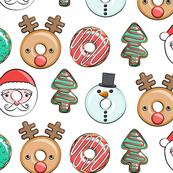Christmas donuts - Santa, Christmas tree, reindeer - white