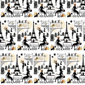 Paris Street Cafe Eiffel Tower on White