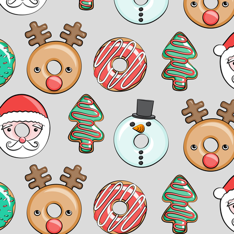 Christmas donuts - Santa, Christmas tree, reindeer - grey fabric by littlearrowdesign on Spoonflower - custom fabric
