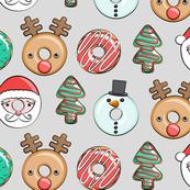 Christmas donuts - Santa, Christmas tree, reindeer - grey
