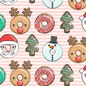 Christmas donuts - Santa, Christmas tree, reindeer - pink stripes