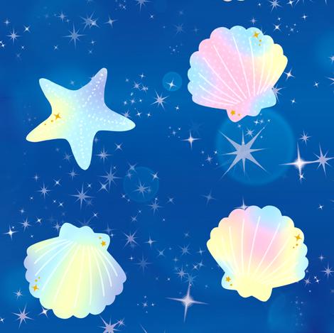 1 seashells clams starfishes sea marine ocean water glitter sparkles stars purple pink dark blue yellow ombre rainbow pastel bubbles kawaii adorable cute egl elegant gothic lolita    fabric by raveneve on Spoonflower - custom fabric