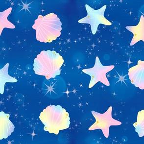 1 seashells clams starfishes sea marine ocean water glitter sparkles stars purple pink dark blue yellow ombre rainbow pastel bubbles kawaii adorable cute egl elegant gothic lolita
