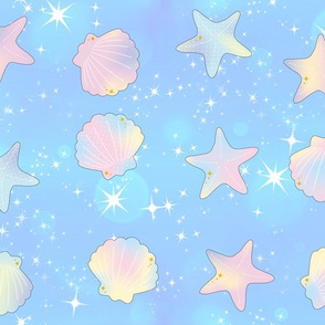 2 seashells clams starfishes sea marine ocean water glitter sparkles stars purple pink dark blue yellow ombre rainbow pastel bubbles kawaii adorable cute egl elegant gothic lolita