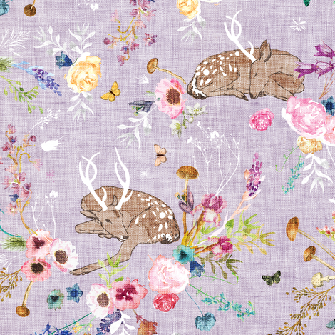 Fawn Garden (lavender) MED fabric by nouveau_bohemian on Spoonflower - custom fabric