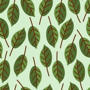 Trendy Green Brown Leaf Pattern