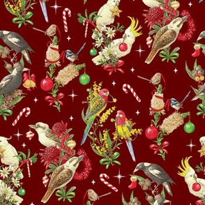 Bush Birds of Christmas - Burgundy