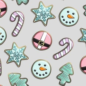 Christmas Sugar Cookies - Pastel on grey - holiday