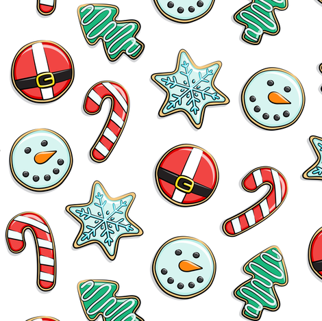 Christmas Sugar Cookies - white - holiday fabric by littlearrowdesign on Spoonflower - custom fabric