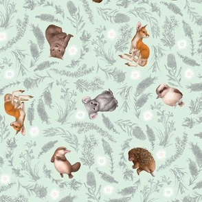 Little Aussie Friends - Small Animal Scatter Print - Mint
