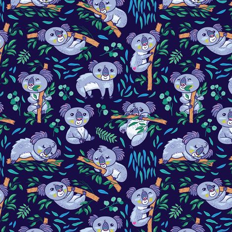 Koalas in the eucalyptus forest_2 fabric by penguinhouse on Spoonflower - custom fabric