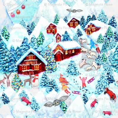 Scandinavian snow day fun, deer, mountains, fox, owl, holiday village