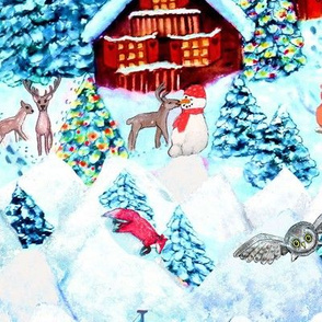 Scandinavian snow day fun, deer, mountains, fox, owl, holiday village