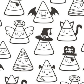 Candy Corn Halloween Fall Doodle Black & White Colouring