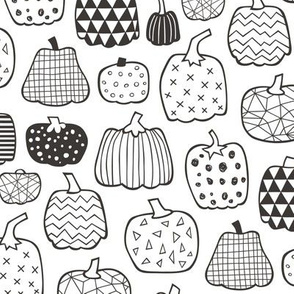 Geometric Pumpkin Fall Halloween in Black&White  Colouring