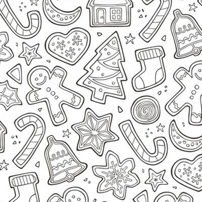Christmas Xmas Holiday Gingerbread Man Cookies Winter Candy Treats  colouring Black & White