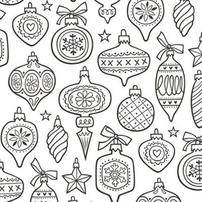Vintage Christmas Holiday Ornaments & Stars Black & White Colouring